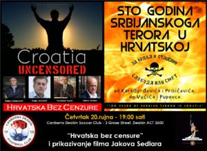 "Canberra - Croatia Uncensored tour and ""100 Years of Serbian Terror in Croatia"" screening @ Canberra Deakin Soccer Club"
